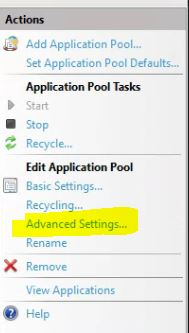 IIS App pool advanced settings
