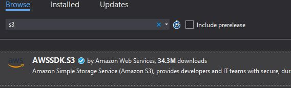 AWS SDK S3 Nuget Package