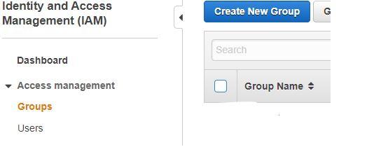 Create new IAM group