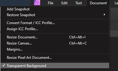 Enable transparent background on existing document in affinity photo.